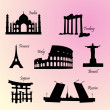 Stock Vector: Landmarks countries of world