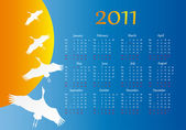 Flight of a bird. Calendar 2011 — Stock Vector
