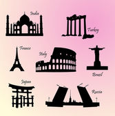 Landmarks countries of the world — Stock Vector
