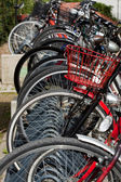 Lots of bicycles on a bicycle rack — Stock Photo