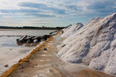 Salt Pile in a Saltmine next to Trapani, Sicily — Stock Photo