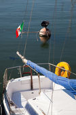 Anchored Ship in the Harbour with Italian Flag — Stock Photo