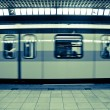 Moving Subway Train at the Station - Stock Photo