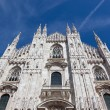 Milan Cathedral Facade from the Bottom with blu sky - Foto Stock