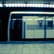 Moving Subway Train at the Station — Stock Photo