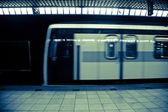 Moving Subway Train at the Station — Foto Stock