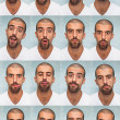 Youg Man Performing Various Expressions with his Face - 图库照片