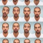 belle mann ausführen verschiedene ausdrücke mit seinem gesicht — Stockfoto