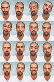 Youg Man Performing Various Expressions with his Face — Stockfoto
