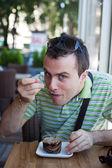 Man Drinking a Coffee Cream — Stock Photo