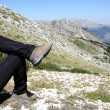 Person Relax on Top of a Mountain Against Great Panorama — Foto de Stock