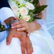 Bride and Groom Hand with Wedding Ring — Stock Photo