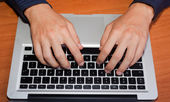 Man Hand Typing on Computer Keyboard — Stock Photo
