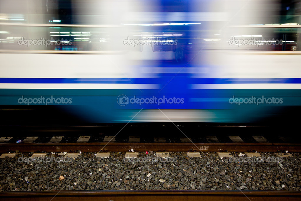 Motion Blur Effect of Railroad Car in the Station  Stock Photo #3893687