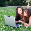 Two Young Woman With Laptop PC at Park - Stock Photo