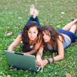 Two Young Woman With Laptop PC at Park — Foto Stock