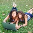 Two Young Woman With Laptop PC at Park — Lizenzfreies Foto