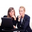 Two Young Businesswoman with Laptop — Stock Photo