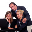 Senior Businessman with Young Businesswoman Look Computer — Stock Photo