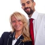 jovem empresário e mulher de negócios sobre fundo branco — Foto Stock