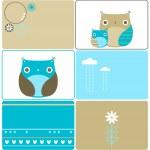 Six owls designs — Stock Vector