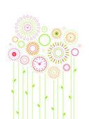 Reloj de flores — Vector de stock