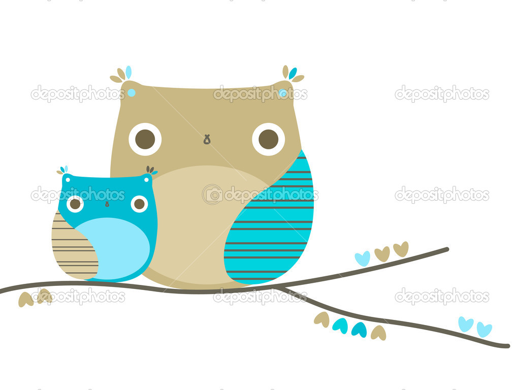 Two cute owls on a tree branch — Stock Vector #2821547