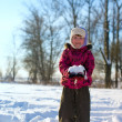 Girl playing with snow — Stock Photo #3808036