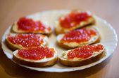 Caviar sandwiches — Stock Photo