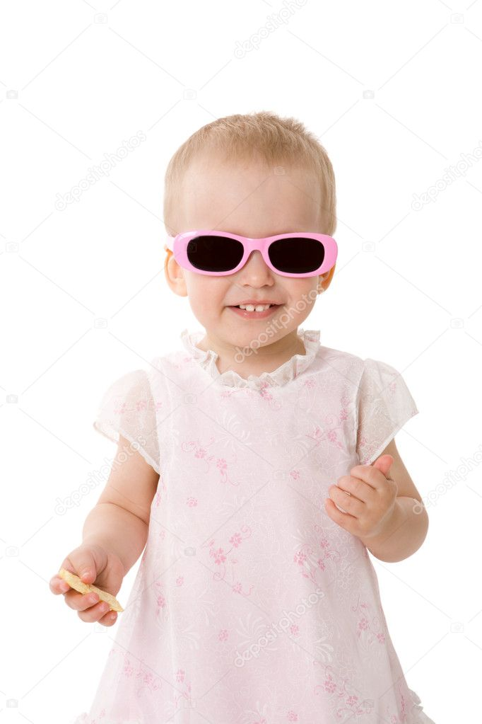 Little Girl wearing sunglasses isolated on white — Stock Photo #3802612
