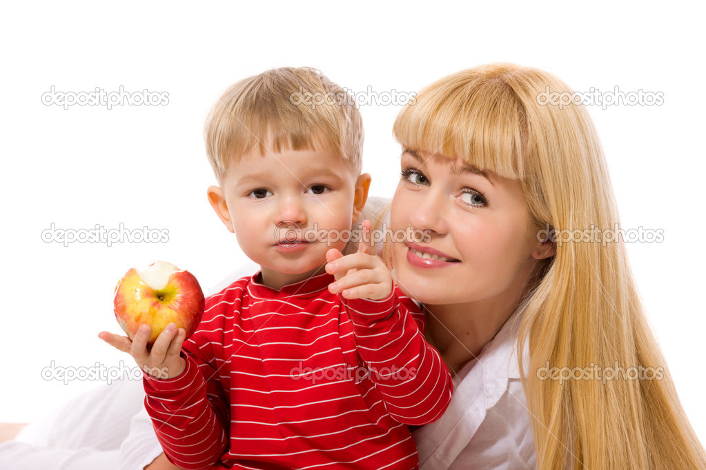 Healthy nutrition mother and son together isolated — Stock Photo #3803389