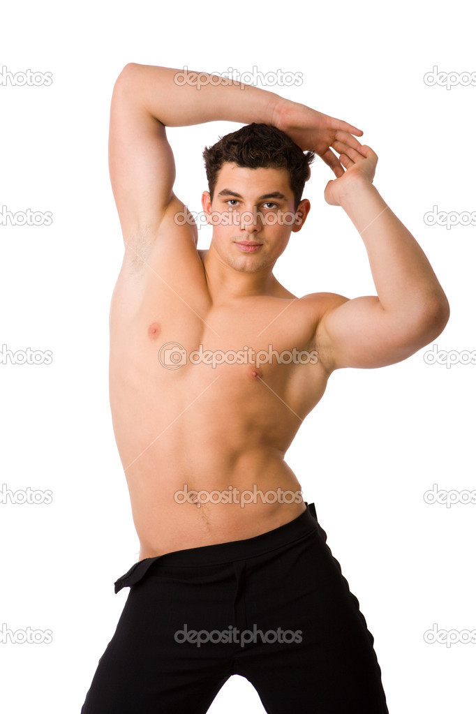 Young athlete man posing half naked isolated on white — Stock Photo #3843650