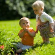Two kids outdoors — Stock Photo