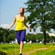 Jumping with skipping rope — Stock Photo