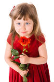 Girl holding rose — Stock Photo