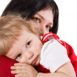 Mother holding crying baby — Foto Stock