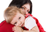 Mother holding crying baby — Stock Photo