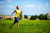 Frau, jogging — Stockfoto