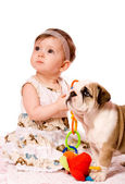 Baby and puppy — Stock Photo