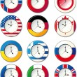 Stock Vector: Watch, at which flags