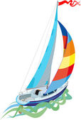 Sailing in sail yacht — Stock Vector
