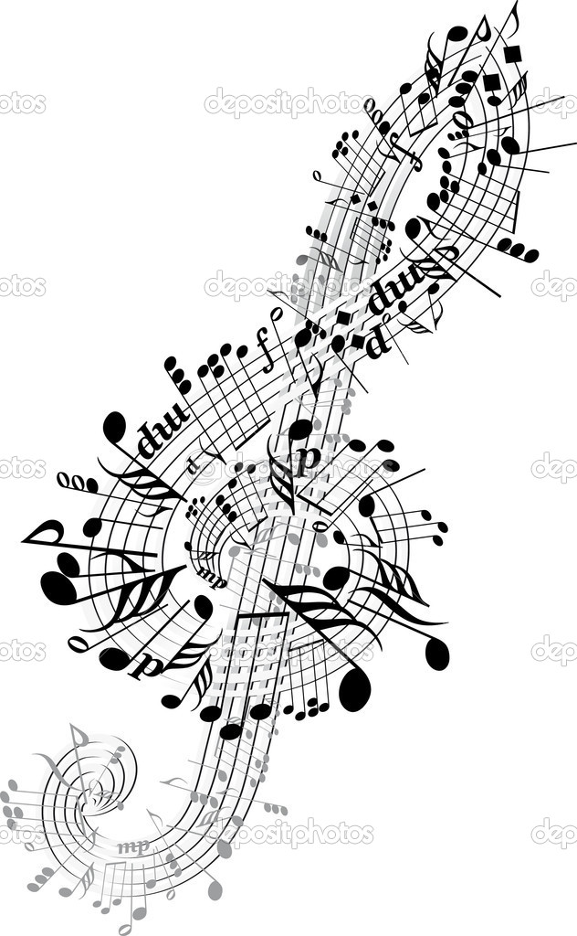 Music notes twisted into Clef — Stock Vector #3189831