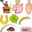Objects of Good Luck — Stock Vector