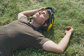 Tired cyclist — Stock fotografie