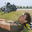 Stock Photo: Tired cyclist