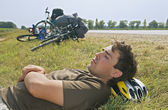 Tired cyclist — Stock Photo