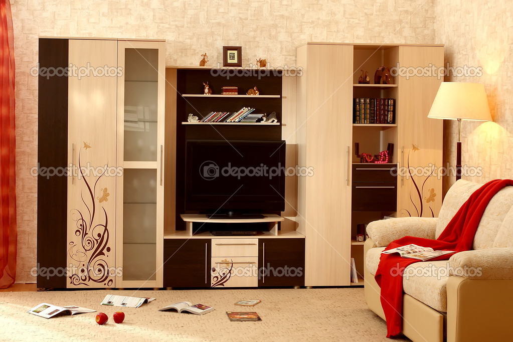 Interior of a living room with a  different furniture — Stock Photo #2981633