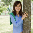 Pretty Girl With A Tree — Stock Photo