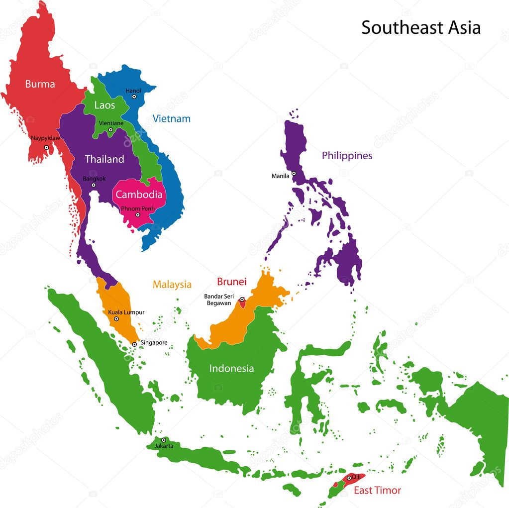 Southeast Asian Countries And Capitals Map HVCI – Map of Asia with Capitals and Countries