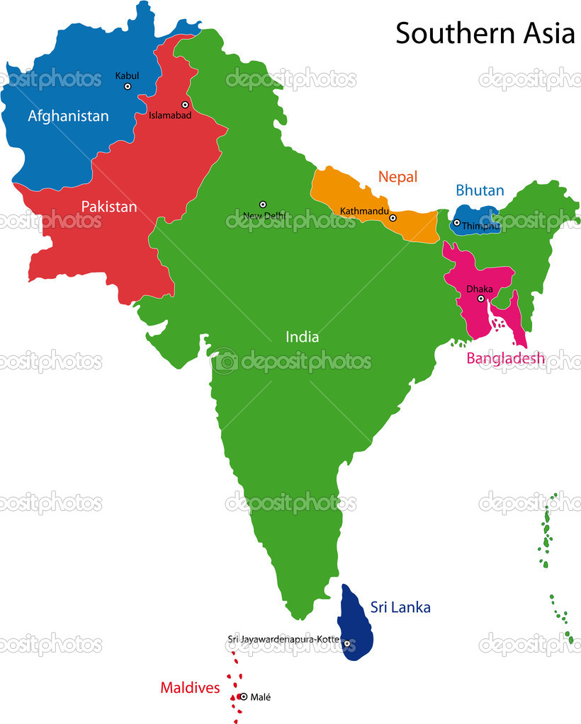 Southern Asia map Vector Volina 2984755 – Asia Map with Capital Cities
